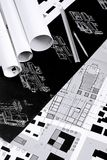 Architectural drawings, blueprints, city planning royalty free stock images