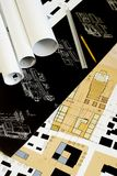 Architectural drawings, blueprints, city planning royalty free stock photo