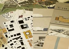 Architectural drawings, blueprints, city planning stock image