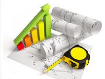 Architectural drawings with construction tools Stock Photo