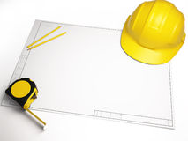 Architectural drawings with construction tools. Civil engineering and architectural drawings, designs and tools Stock Image
