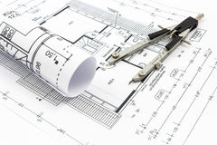 Architectural drawings of a house Stock Photography