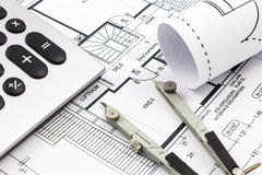 Architectural drawings of a house Stock Photo