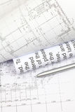 Architectural drawings and pen Stock Photos