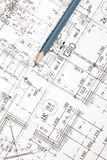 Architectural drawings and pencil Stock Photo