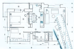 Architectural drawings with pencil and ruler Royalty Free Stock Image