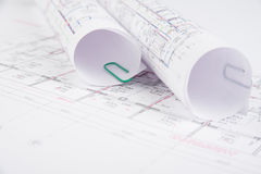 Architectural drawings selective focus Royalty Free Stock Photography