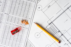 Architectural drawings, a sharpener with a pencil Royalty Free Stock Images