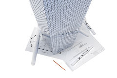 Architectural drawings and skyscraper Stock Photos