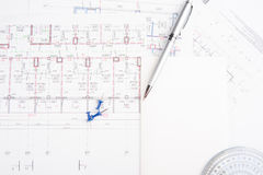 Architectural drawings with text space Royalty Free Stock Images