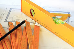 Architectural drawings and tools Stock Photo