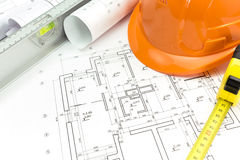 Architectural drawings and tools Stock Photos
