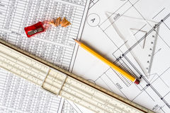 Architectural drawings,  tools for sketching Royalty Free Stock Photo