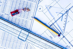Architectural drawings,  tools for sketching on the table Royalty Free Stock Image