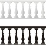 Architectural element - a balustrade. Vector illustration of architectural element - a balustrade: grey, black, isolated background Stock Photos