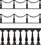 Architectural element - balustrade, fence. Vector illustration of architectural element - a balustrade, fence with chain:  black, isolated, background Stock Images