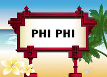 Architectural element with an inscription of Phi Phi Royalty Free Stock Photo