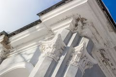 Architectural elements on columns stock photos