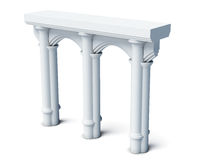 Architectural elements columns rches  on white backg Stock Photo