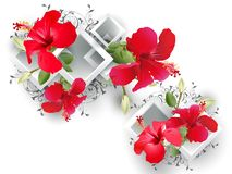 Architectural elements and hibiscus royalty free stock image