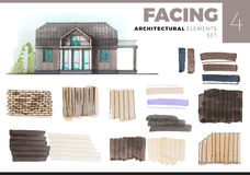 Architectural elements with house  on white Royalty Free Stock Image
