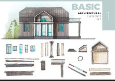 Architectural elements with house  on white Royalty Free Stock Photography