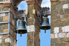 Architectural elements of old bell tower and church Royalty Free Stock Photo