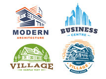 Architectural emblems Set on white background royalty free illustration
