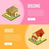 Architectural engineering isometric 3d concept. House framework, construction of walls, siding and roof installation isometric vector illustration Stock Photo