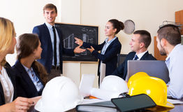 Architectural engineers discussing business project Stock Image