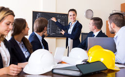 Architectural engineers discussing business project Stock Photography