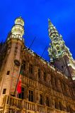 Architectural ensemble of Grand Place, City Hall in evening illumination, Brussels, Belgium. Architectural ensemble of Grand Place, City Hall building in evening royalty free stock photo