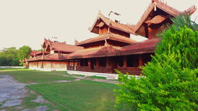 Architectural ensemble of The Mandalay Royal Palace in Myanmar stock video footage
