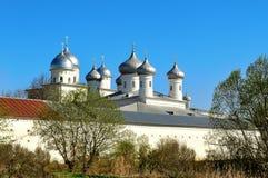 Architectural ensemble of orthodox Yuriev Monastery in Veliky Novgorod, Russia Stock Photo