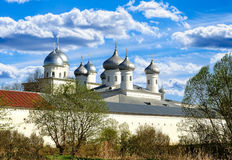 Architectural ensemble of orthodox Yuriev Monastery in Veliky Novgorod, Russia Royalty Free Stock Images