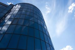 Architectural exterior detail of industrial office building with. Cloud Royalty Free Stock Photo