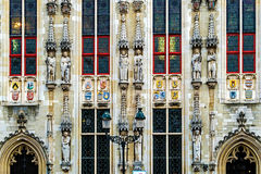 Architectural facade detail at one old building. Bruges, Belgium Royalty Free Stock Photos