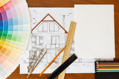 Architectural facade drawing, color palette guide, pencils and r Royalty Free Stock Image