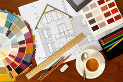 Architectural facade drawing, Two color palette guide, pencils a Royalty Free Stock Image