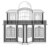 Architectural Facade Vector. Wire frame blueprint drawing of classic  building. Vector architectural template background Royalty Free Stock Photo