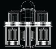 Architectural Facade Vector. Wire frame blueprint drawing of classic  building. Vector architectural template background Stock Photo