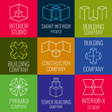 Architectural firm, interior design studios, construction company line vector logos with 3D isometric cubes structure. Set of logo for building company Royalty Free Stock Photography