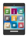 Architectural flat icons on a tablet screen Royalty Free Stock Photos
