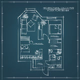 Architectural Floor Plan. Architectural Blueprint Floor Plan.Studio Apartment With One Bedroom Stock Photos