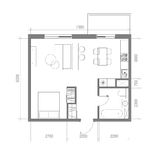 Architectural Floor Plan with Dimensions. Studio Apartment Vector Illustration. Top View Furniture Set. Living room, Kitchen, Bath Stock Photos