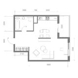 Architectural Floor Plan with Dimensions. Studio Apartment Vector Illustration. Top View Furniture Set. Living room, Kitchen, Bath Royalty Free Stock Photos