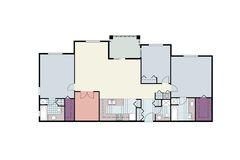 Architectural floor plan of three bedroom condo Royalty Free Stock Photography