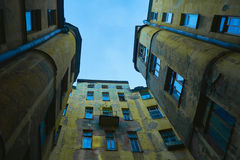Architectural fragment courtyard-well of apartment old house in perspective Stock Photography