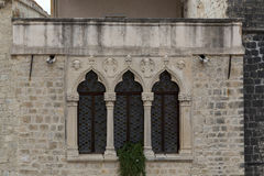 The architectural fragment of medieval window, Croatia Royalty Free Stock Photos