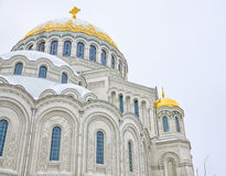 The architectural fragment of the Naval cathedral of Saint Nicholas in Kronstadt. Stock Image